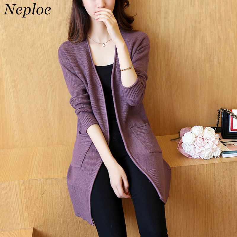 Neploe Sweater Coat Women Long-Sleeve Slim Autumn New Solid Spring Tide 65472 Tops Wild