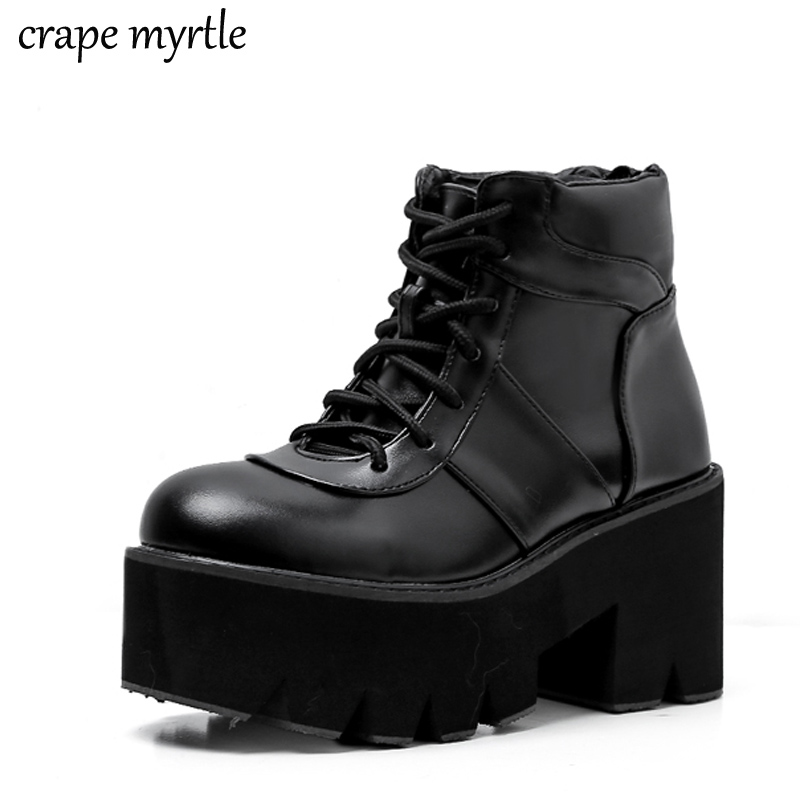 punk boots women fall shoes platform boots High Heel winter shoes motorcycle lace up Boots snow shoes women botas mujer YMA538