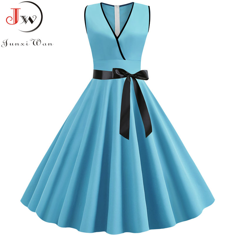 Summer Women's Dress 2019 Solid Color Elegant Vintage Dress Casual V Neck Sleeveless Plus Size Party Midi Sundress Robe Femme