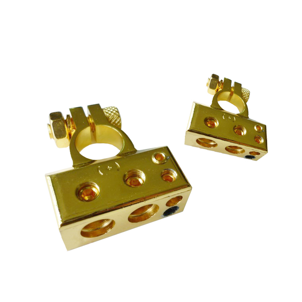 A pair of Gold Car Battery Header Connector Positive /negative Head Battery terminals Batteries Clamp