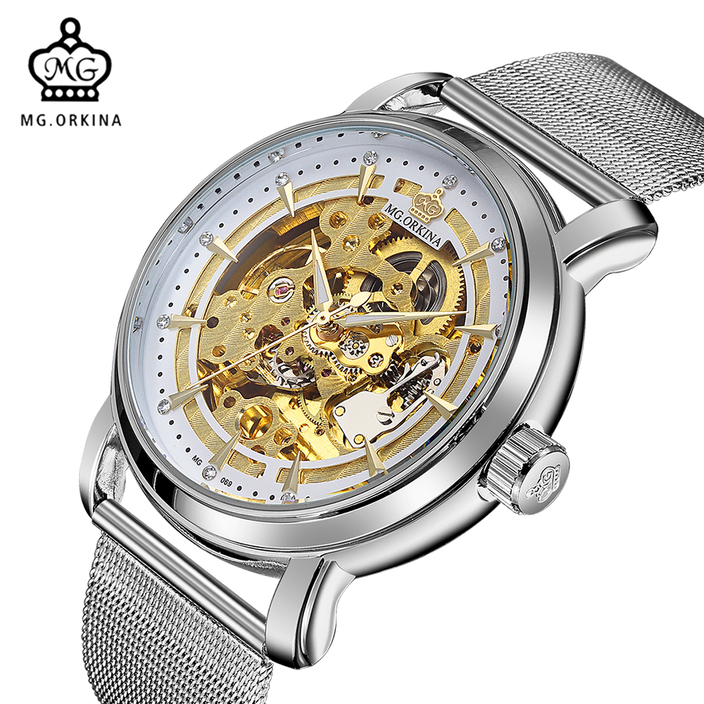 MG. ORKINA Fashion Casual Watch Stainless Steel Mesh Band Horloges Mannen Auto Skeleton Male Mechanical Wristwatch Clock Men orkina relojes 2016 new clock men luxury masterpiece elegant date display black leather band wrist watch cool horloges mannen