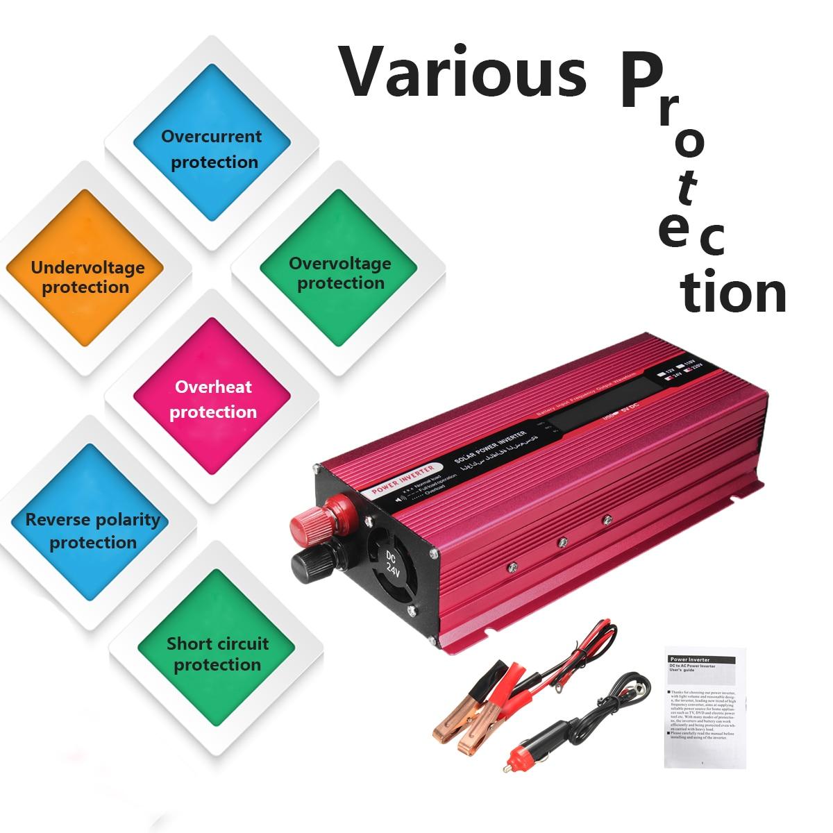 Vague Convertisseur PIC 4000 w 12/24 v À AC 220/110 v Voiture Solaire Power Inverter USB modifié Tension Transformateur En Alliage D'aluminium Univer