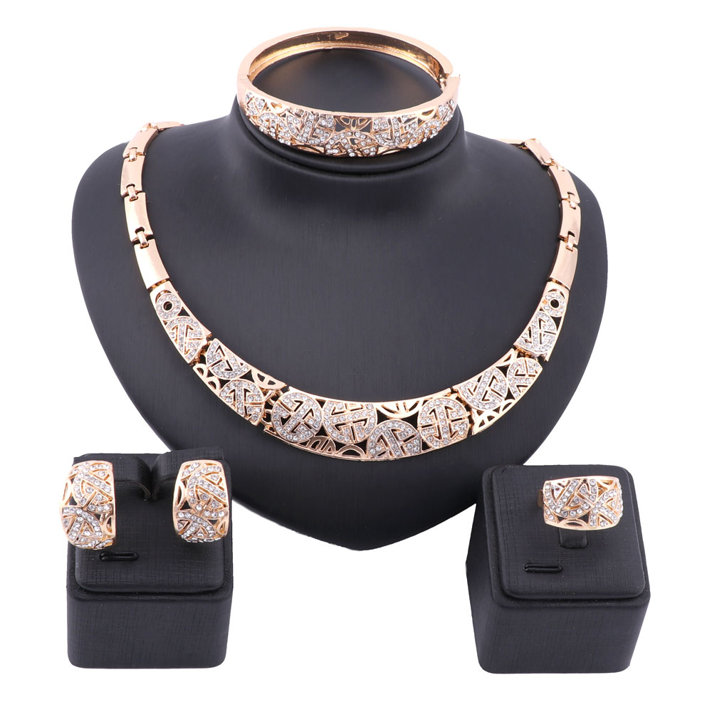 Women Dubai Gold Color Full Rhinestone Fine Jewelry Sets Trendy Nigerian Wedding African Beads Party Gift Set