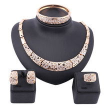 Women Dubai Gold Color Full Rhinestone Fine Jewelry Sets Trendy Nigerian Wedding African Beads Party Gift Set