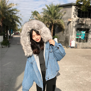 Image 3 - Big Faux Fur Collar Winter Jacket Women Oversized Batwing Sleeve Denim Jackets Wool Liner Jeans Coat Velvet Warm Jaqueta Hoodies