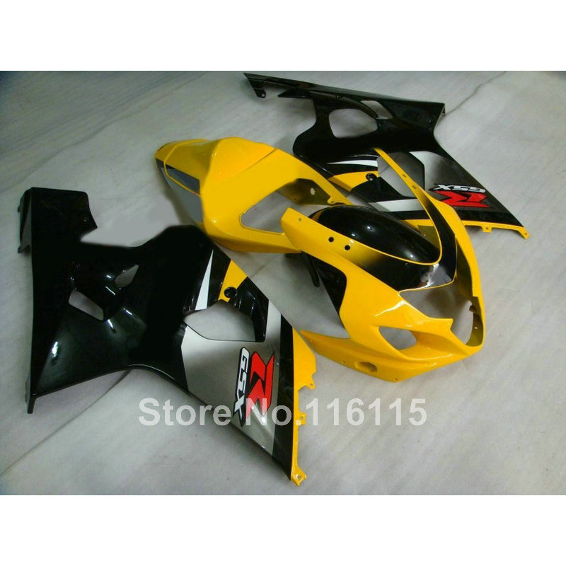 Motorcycle parts for SUZUKI GSXR600 GSXR750 K4 2004 2005 yellow silver black fairings set GSXR600/750 04 05 fairing kit WF8