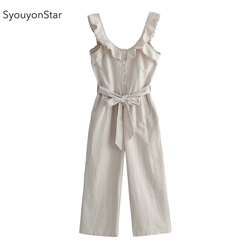 SyouyonStar Plaid Women Jumpsuits 2019 Rompers Kombinezon Casual Summer Jumpsuit With Pocket Overall