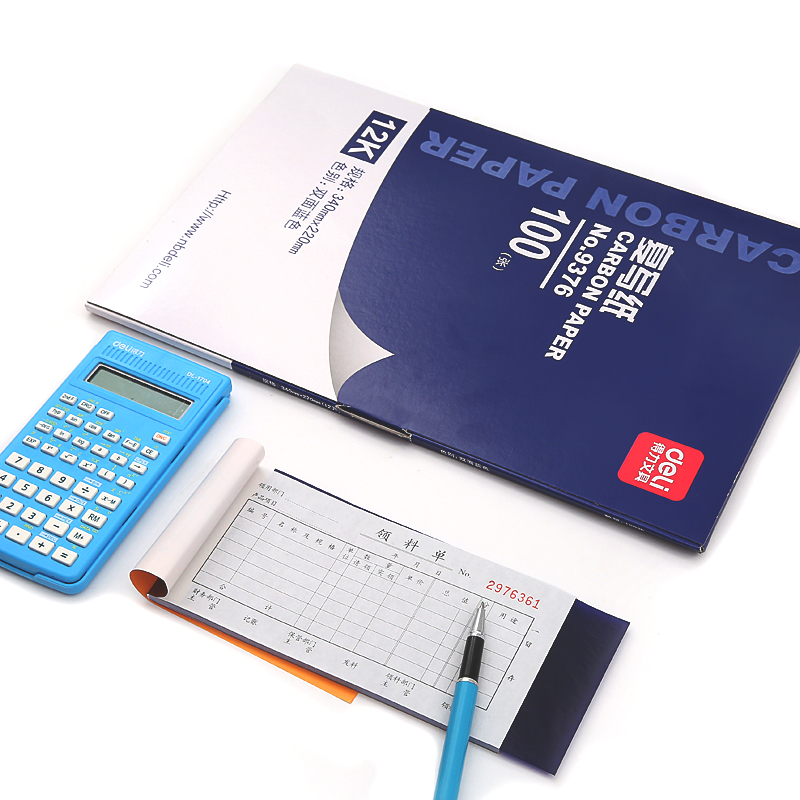 Deli 1 Pack 100 Sheets Blue Color 48K Thin Carbon Paper Include 3 Red Ones 48K 85mmx185mm Accounting Supplies 9370 in Carbon Paper from Office School Supplies