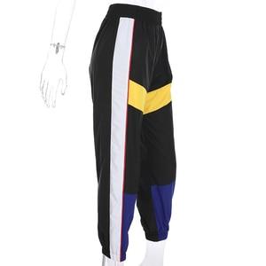 Image 4 - Weekeep Women High Waist Patchwork Pants Black Pencil Pants Streetwear Cargo Pants Loose Jogger Trousers Women 2019 Sweatpants