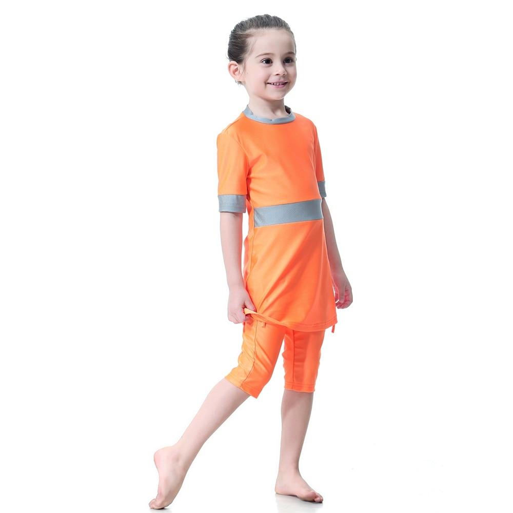 2019 Muslim Girl Swimsuit Kids Conservative Arabian Islamic Swimwear Burkinis Modest Three-piece Children Summer Solid
