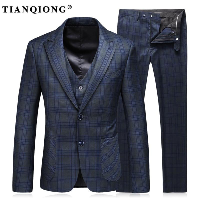 TIAN QIONG Men Suit(Jackets+Pants+Vest)2017 Fashion Man Suit Slim Blue Plaid Two Button Weeding Groom Suits Costume Homme Tuxedo