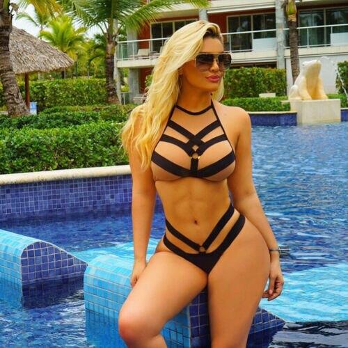 2019 New Women Sexy Bikini Set Hollow Push-up Padded Bandage Swimwear Bathing Suit