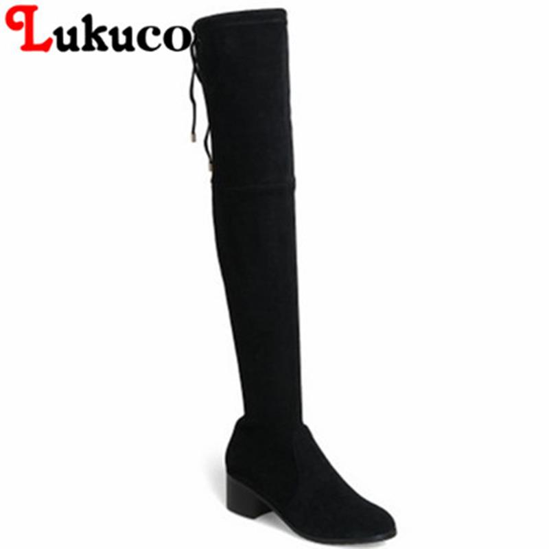 EUR size 34-39 Lukuco pure color elegant women knee-high boots microfiber med-heel design lady shoes with short plush inside lukuco pure color women mid calf boots microfiber made buckle design low hoof heel zip shoes with short plush inside