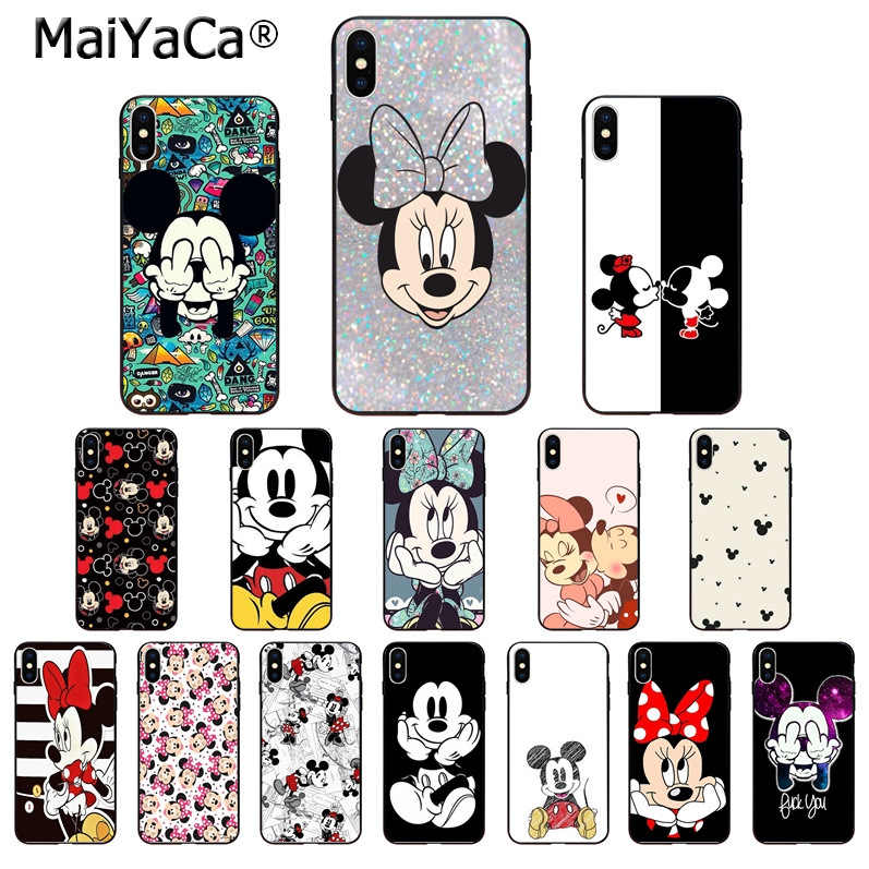 Maiyaca Beauty Cartoon Mickey Minnie Mouse  Soft TPU Shell Phone Cover for iPhone Xr XsMax 8 7 6 6S Plus Xs X 5 5S SE 5C Cases