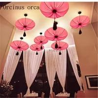 Southeast Asia cloth art lotus lamp Chinese art pendant lamp living room restaurant coffee shop lamp Postage free