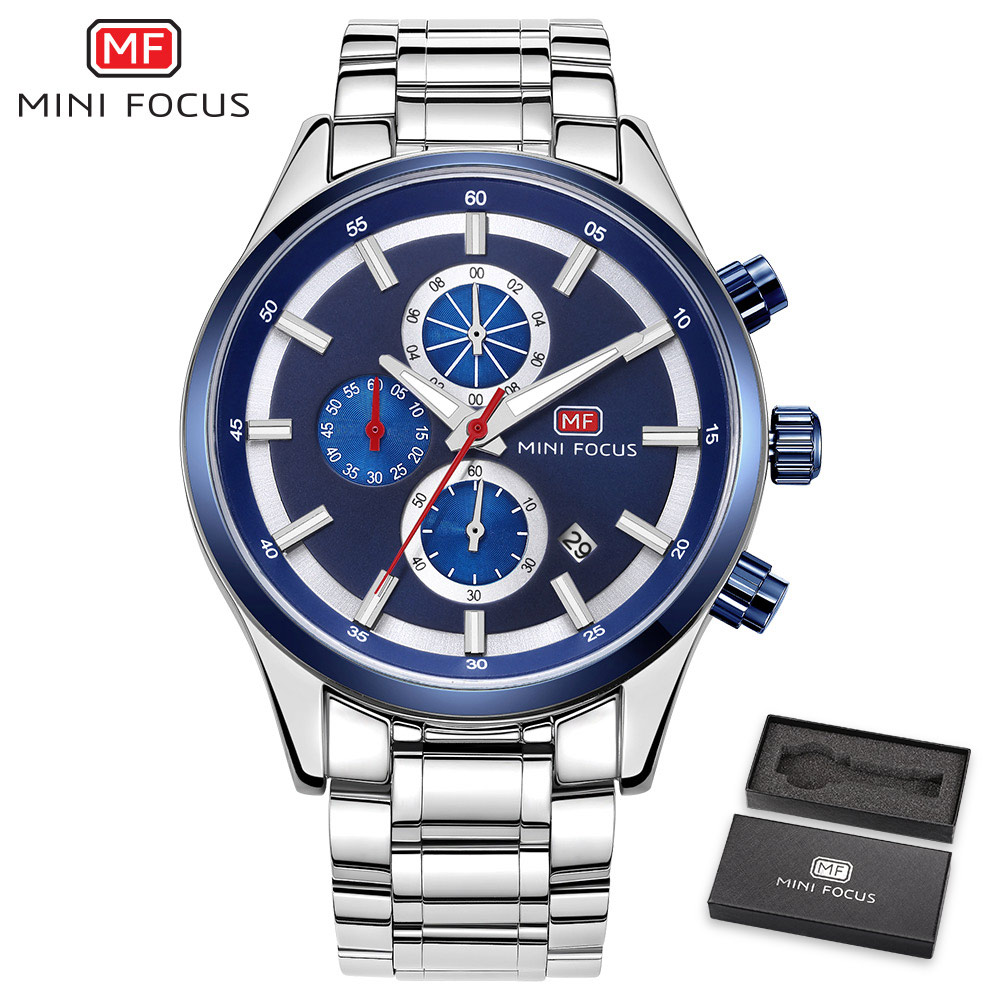 MINI FOCUS Mens Watches Top Brand Luxury Quartz Clock Stainless Steel Strap Ocean Blue 3D Index Design Calendar Wrist Watch+BOX