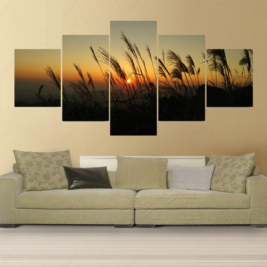 ᗑ】No Marcos 5 panel moderno lienzo pintura óleo Reed cuadros ...