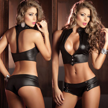 One Set Pu Leather Lacquer Stamping Lingerie Uniform Temptation  Dance Sexy Girl Sex Games Nightclub DS Party Cosplay Clothi