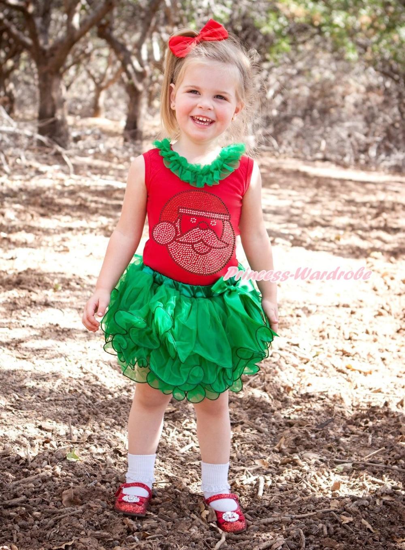 XMAS Rhinestone Santa Claus Red Top Kelly Green Petal Baby Girl Pettiskirt NB-8Y MAMG1201 xmas red white dot ruffle lacing santa claus top baby girl red petal pettiskirt outfit set nb 8y mapsa0063
