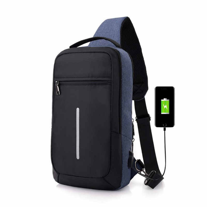 Hot 2018 New Men Waterproof 1000D Nylon Military USB Charging Shoulder Bags Waist Bag fashion high-end leisure Chest package