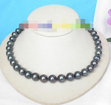 Genuine 12mm round black freshwater pearls necklace 925 silver clasp j8186Genuine 12mm round black freshwater pearls necklace 925 silver clasp j8186
