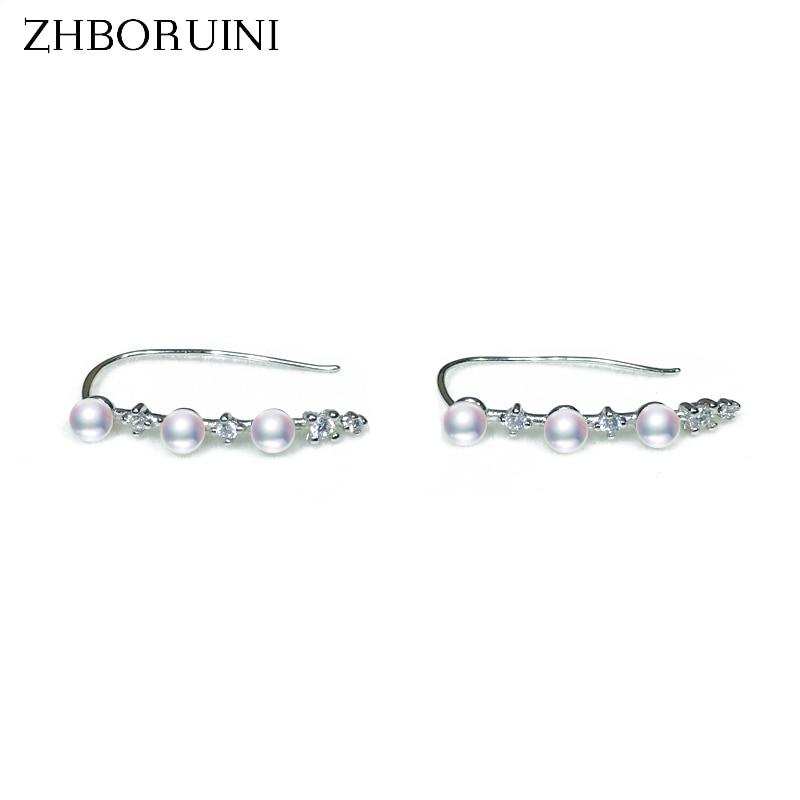ZHBORUINI 2018 Fashion Pearl Earrings Mini Natural Freshwater Pearl Ear Hook Earring 925 Sterling Silver Jewelry For Woman Gift 925 sterling silver freshwater pearl long ear hook earrings earrings