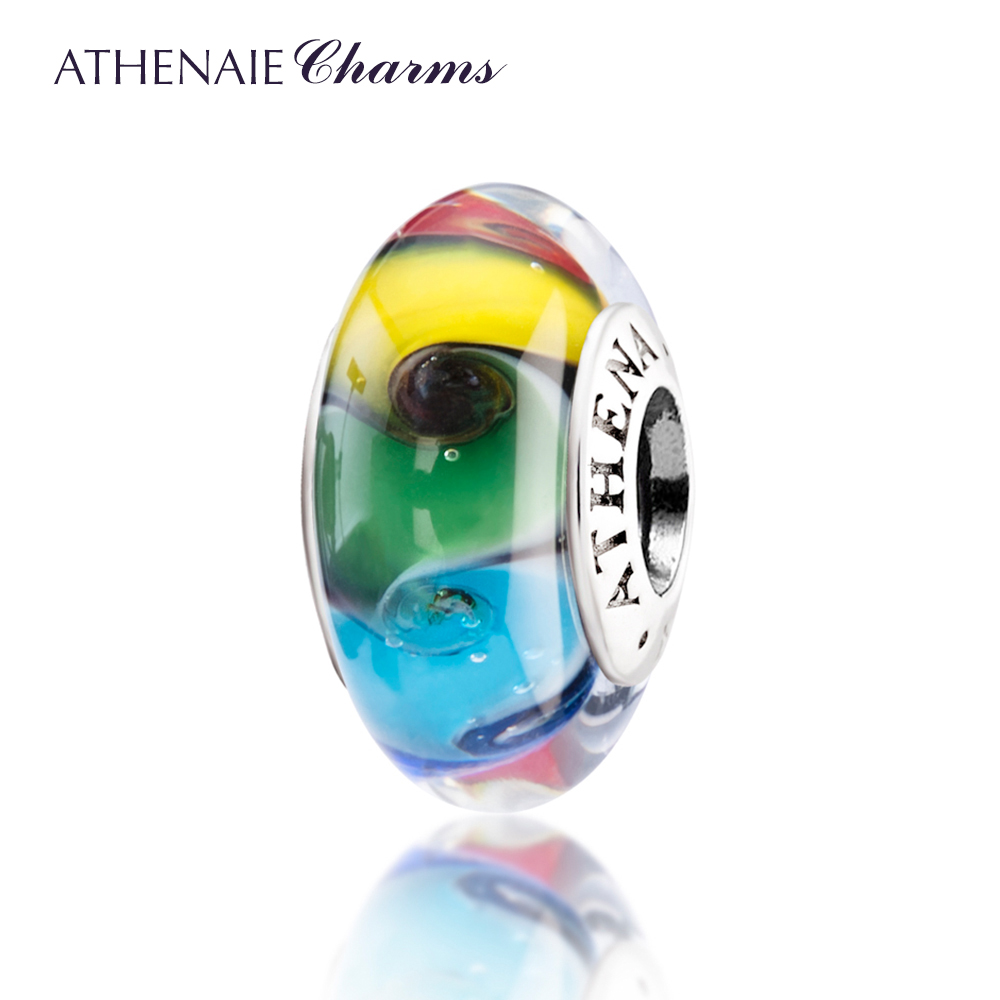 ATHENAIE Genuine Murano Glass 925 Silver Core Colored Swirl Charms Bead Fit All European Bracelets and Necklace Color Rainbow
