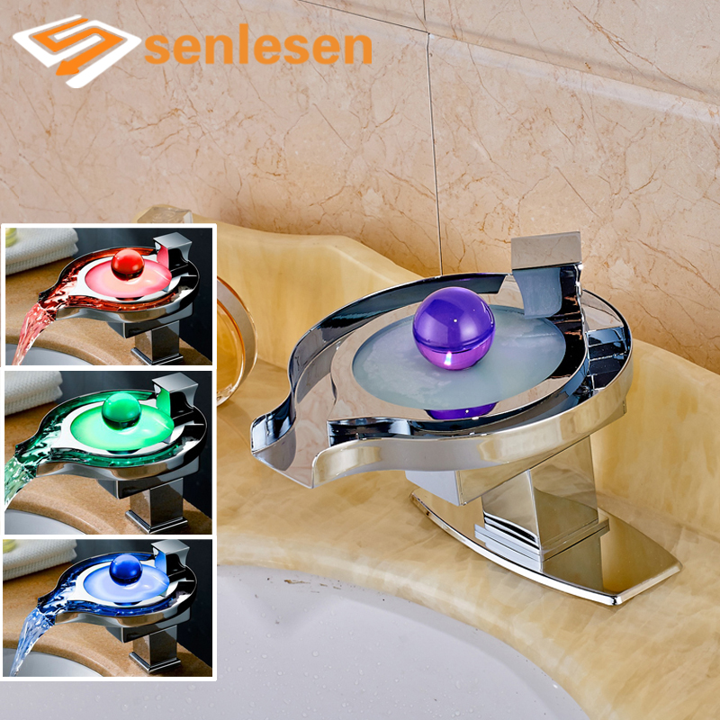 Wholesale and Retail Chrome Finish Deck Mounted LED Light Changing with Hole Cover Plate wholesale and retail deck mounted waterfall bathtub faucet 3 hole chrome finish hot