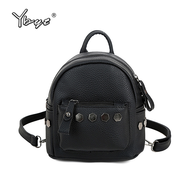 YBYT brand 2018 new rivet solid rucksack hotsale women college wind backpack ladies fashion mini shoulder bag travel bags girsl kid backpack ladies boy shoulder school student bag teenagers fashion shoulder travel college rucksack mochila escolar new