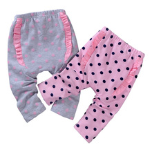 2016 New Spring Baby PP Pants Cotton Girls Leggings Dot Lace Big Ass Pants Children's Clothing Sports Trousers
