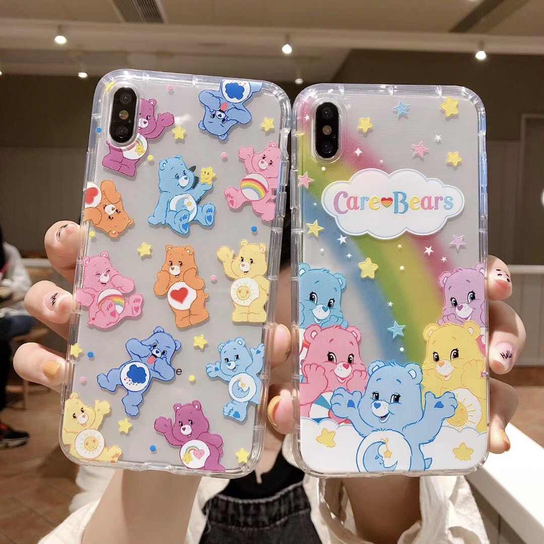 INS Korea Leuke Anime candy regenboog Cear happy bear telefoon case Voor Apple iphone 11 Pro X XS Max Xr 8 7 6 6s Plus soft cover