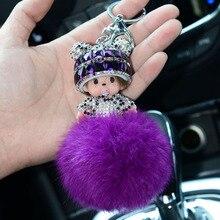 monchichi Keychain fur pom pom Keychain monchichi sleutelhanger rabbit fur ball keychain porte clef Valentine's Day Gift