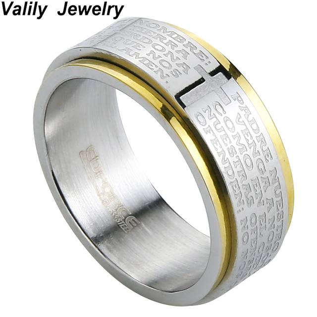 Valily Jewelry New Arrival Men Ring Spinner Party Bible Verse Rings