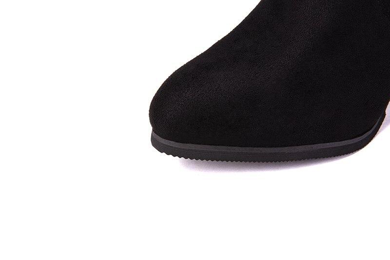 E355 Mujeres La 2019 35 Negro Botas Punta Tacón Sobre De Dedo Rodilla 43 En Zapatos Fósforo Tamaño Gruesa Invierno Pie Todo Del Altas Alto Slip EgrEqd