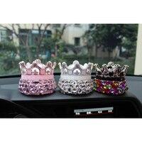 Pink White Purple Crystal Crown Car Seat Bottle Perfume Air Freshener Car Perfume Diffuser
