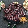 Симпатичные цветочные девушки платье 2016 с длинным рукавом дети одевается для девочек князья платье 2-8years дети партия танец костюм детская одежда