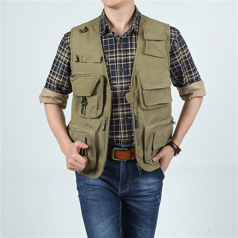 JIINN Men Classic Multi-Pocket Utility Mesh Vest Waistcoat Casual Fast Drying Gilet Outdoor Fishing Photography Casual Coat Jacket