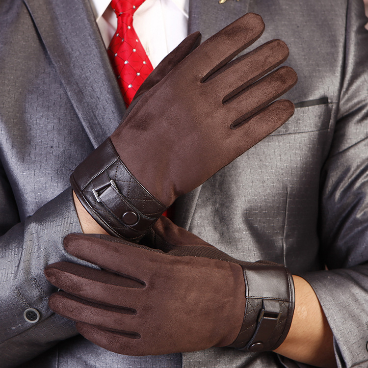 Men's Touchscreen Gloves Adult Autumn Winter Suede Mittens Male Outdoor Car Driving Velvet Glove Suede Warm Mittens B-9213