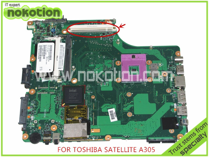 NOKOTION SPS V000126450 For toshiba satellite A300 A305 Laptop motherboard GM45 DDR2 With graphics slot Mainboard nokotion for toshiba satellite c850d c855d laptop motherboard hd 7520g ddr3 mainboard 1310a2492002 sps v000275280