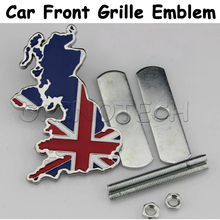 Car Styling The Union Jack England Flag Map Front Grille Emblem Badge For Lotus MG Chevrolet Ford Skoda Volkswagen OPEL Mazda