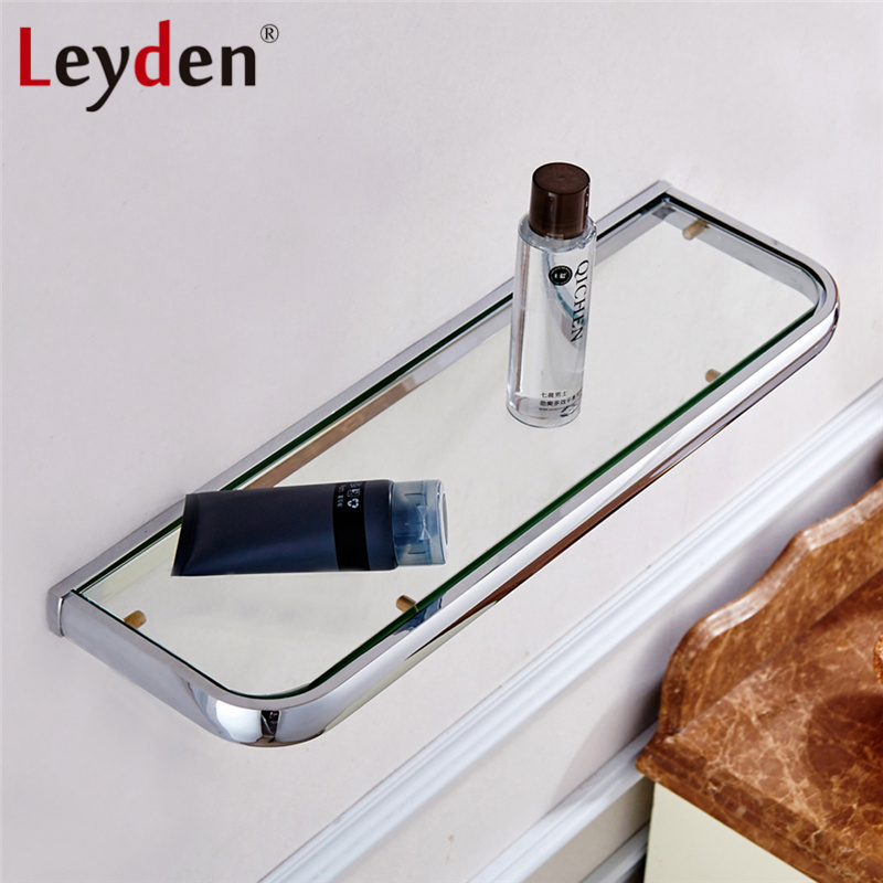 Leyden Hot Glass Shelf Rack Bath Shelf ORB/ Antique Brass/ Gold/ Chrome Wall Mounted Square Storage Rack Organizer Bath Shelves цена