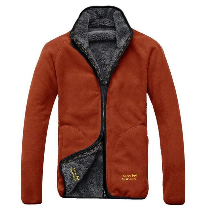 Outdoor winter men coat high quality double side wear fleece clothing thickness Jacket fleece liner plus size sports male jacket цена