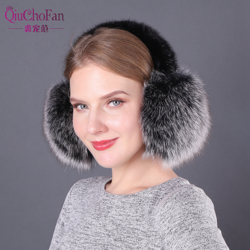 Real Fox Fur Ear Muffs Winter Earmuffs Warmer For Girls Genuine Fur Earmuffs Natural Fox Fur Earmuff Headphones Women