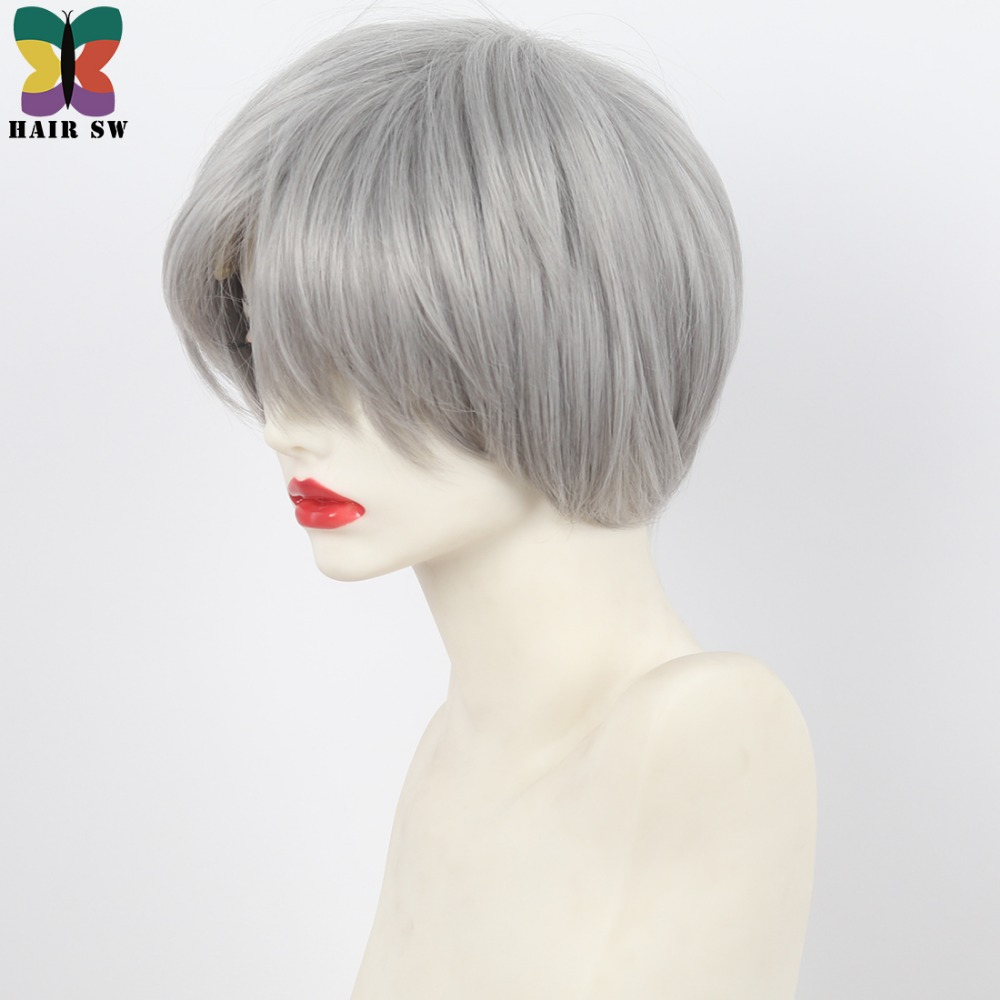 Synthetic Wigs Synthetic None-lacewigs Hair Sw Short Straight High Temperature Fiber Synthetic Wig With Bangs Bob Womens Classical Blonde Wigs For Ladies