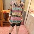 Novo 2015 Verão Mulheres Coreano Chiffon Lace Impressão Três Quartos Puff Luva O Pescoço Solto T Tops camisa da menina das mulheres