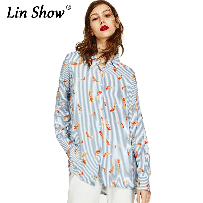 LINSHOW Blue Animal Striped Womens Blouses Long Sleeve ...