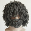 Adult Winter Knit Warm Handmade Wig Beard Hats Hobo Mad Scientist Rasta Caveman Halloween Caps Funny Mask Beanies Free shipping