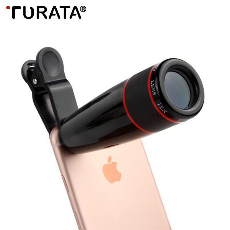 Turata 12X Telescope Zoom Mobile Phone Lens for iPhone Samsung Smartphones Unive