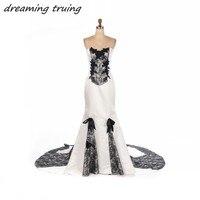 שמלות כלה גותית שחור לבן ושחור בת ים תחרת Appliqued הכתם ארוך ערבית חתונה המפלגה שמלת Vestido דה Noiva