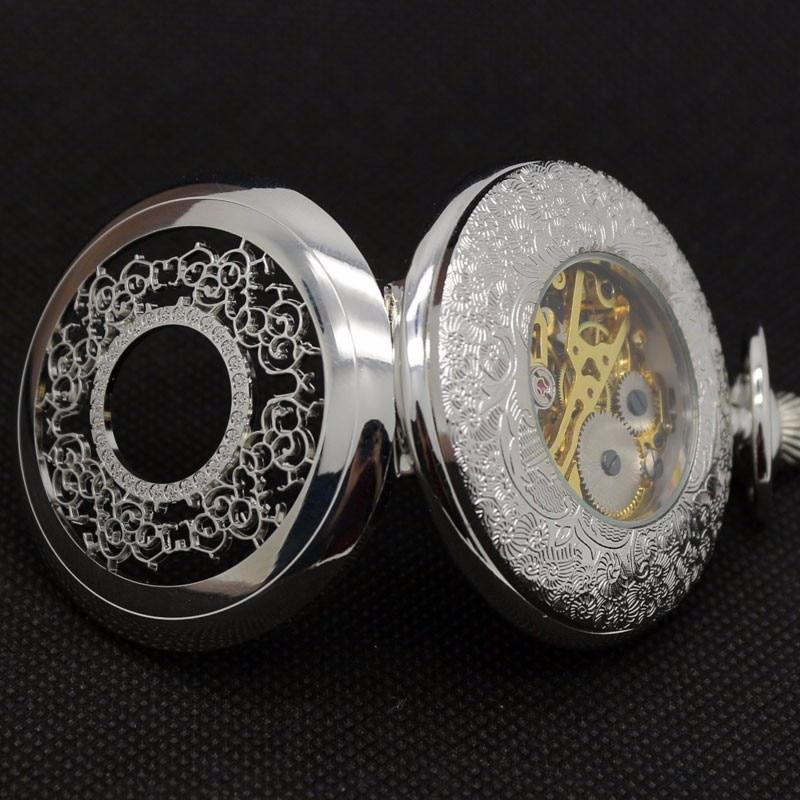 Fashion Hollow Flower Silver Hand Winding Mechanical Pocket Watch Mens Womens Box Bag 7